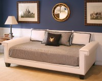 Hudson Full Day Bed in Angel Fabric with Polished Nickel ...
