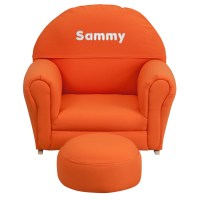 Kids Orange Fabric Rocking Chair and Ottoman ...