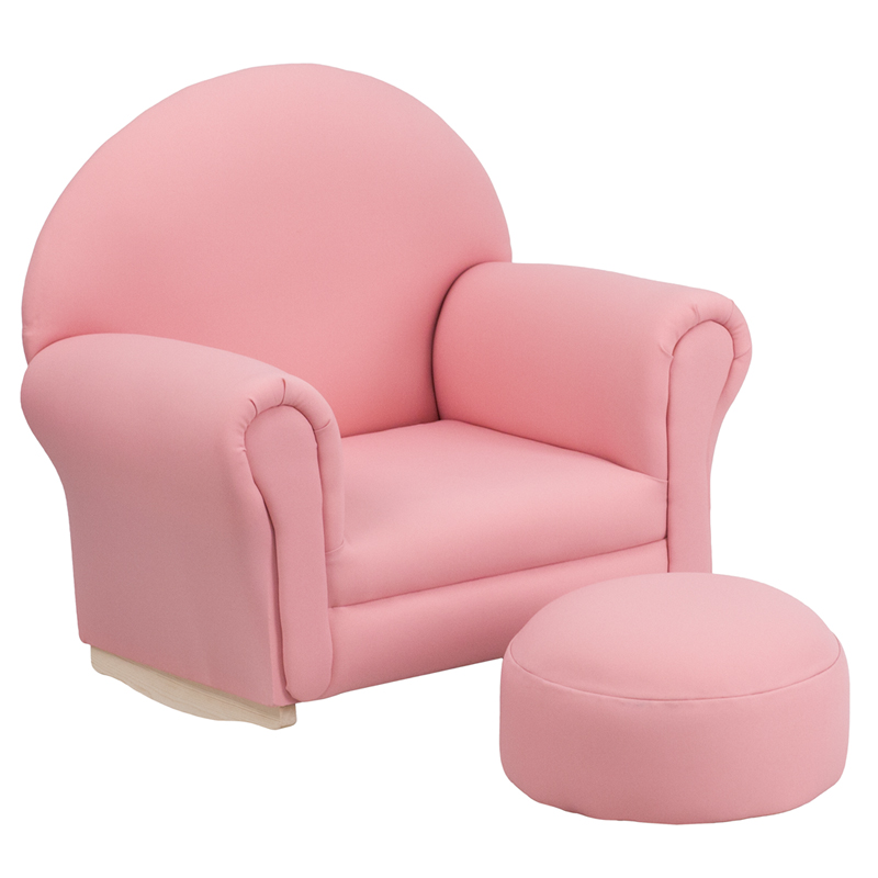 Kids Pink Fabric Rocking Chair and Ottoman