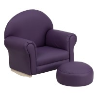 Kids Purple Vinyl Rocking Chair and Ottoman ...