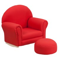Kids Red Fabric Rocking Chair and Ottoman ...