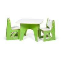 Modern Green and White Kids Table and Chair Set by Sprout Kids