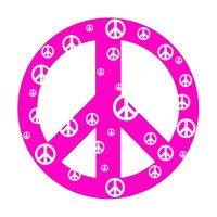Pink Peace Sign Wall Sticker by Instant Murals Design