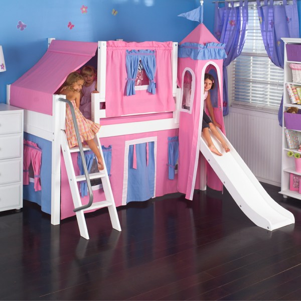 Wow Loft Bed With Blue And Hot Pink Castle Tent
