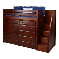 Star High Loft Bed with Storage and Staircase ...