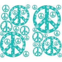 Teal Peace Sign Wall Sticker by Instant Murals Design