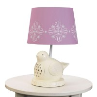 White Bird Lamp with Violet Shade by Lolli Living