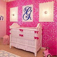 White & Hot Pink Crib Bedding Set by Little Crown Interiors