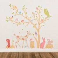 Woodland Scene Girly Fabric Wall Decals by Love Mae