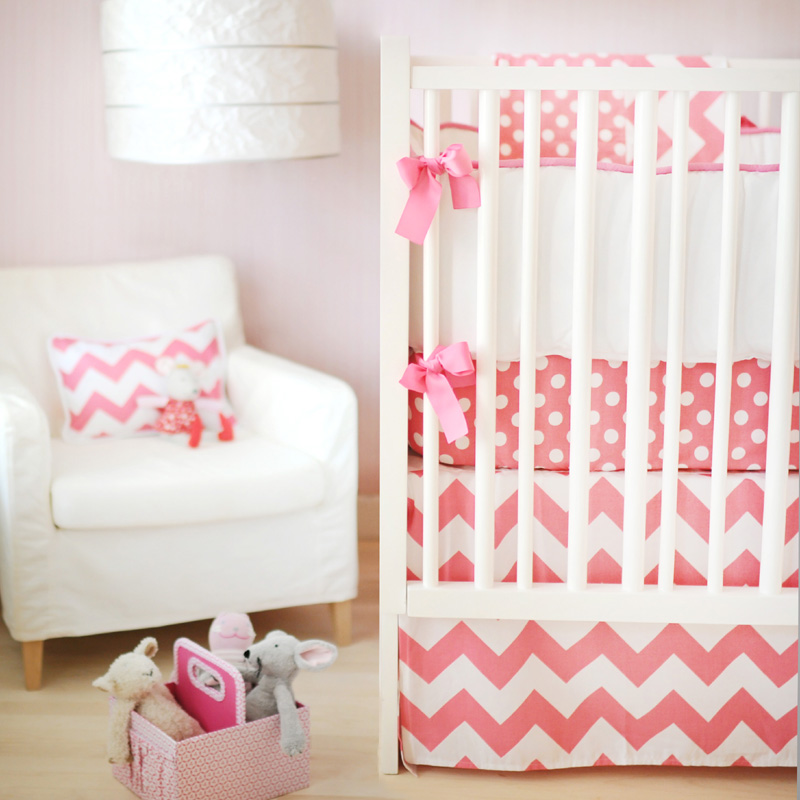 Zig Zag Baby Crib Bedding Set in Hot Pink by New Arrivals Inc.
