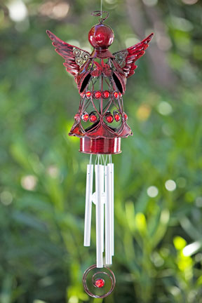 Red Angel wHeart Wind Chime only 3499 at Garden Fun