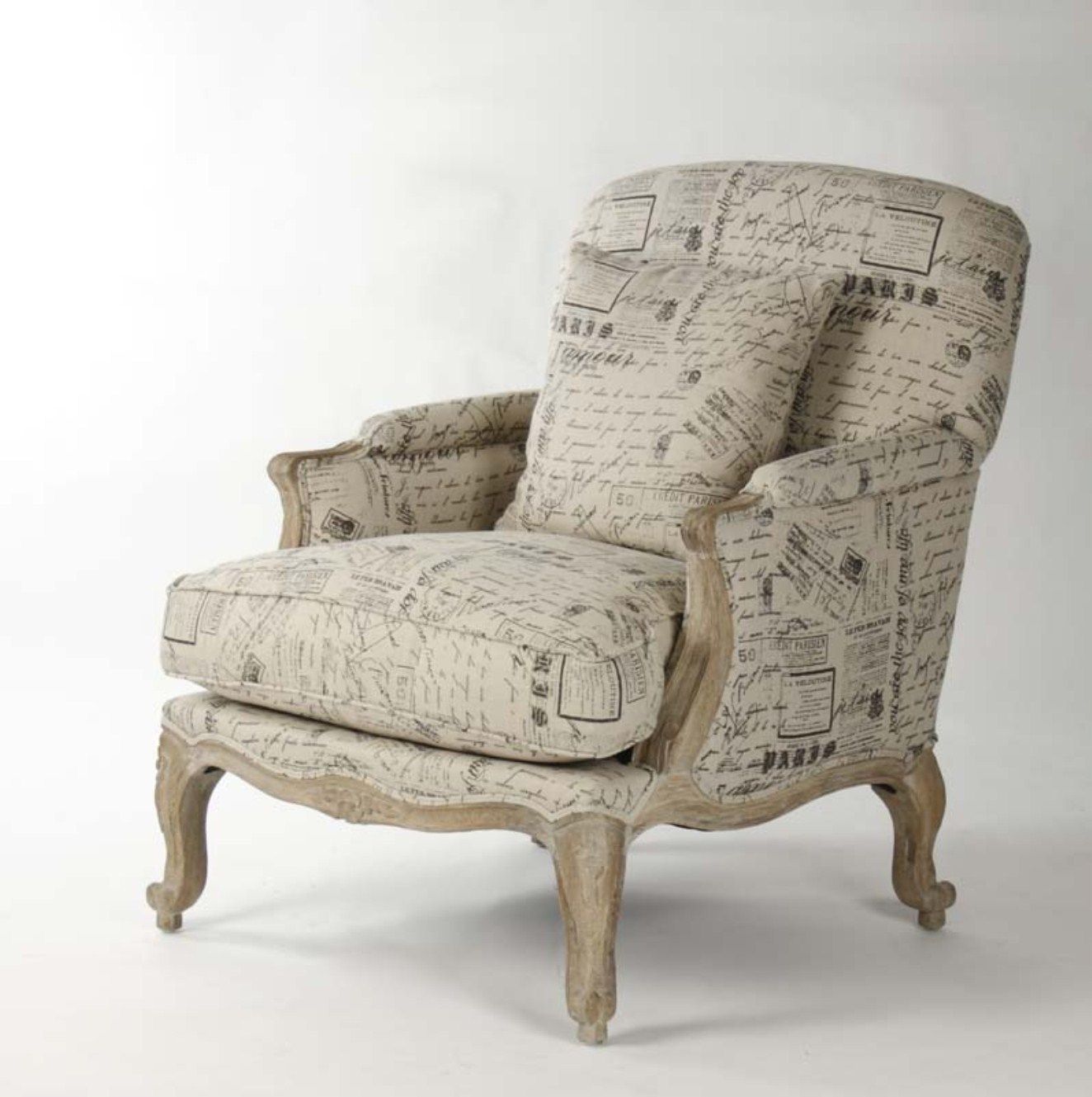 French Script Chair Paris Club Chair French Script Fabric Zentique