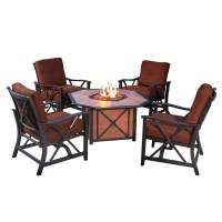 Agio Haywood 5 Piece Fire Pit Set with 4 Spring Chairs and