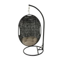 Hanover Outdoor Wicker Rattan Hanging Egg Chair Swing with ...