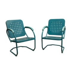 C Spring Patio Chairs Hanging Chair For Two Hanover Retro Set Of 2 Metal In Caribbean