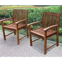 International Caravan Acacia Set Of Two Hudson Arm Chair