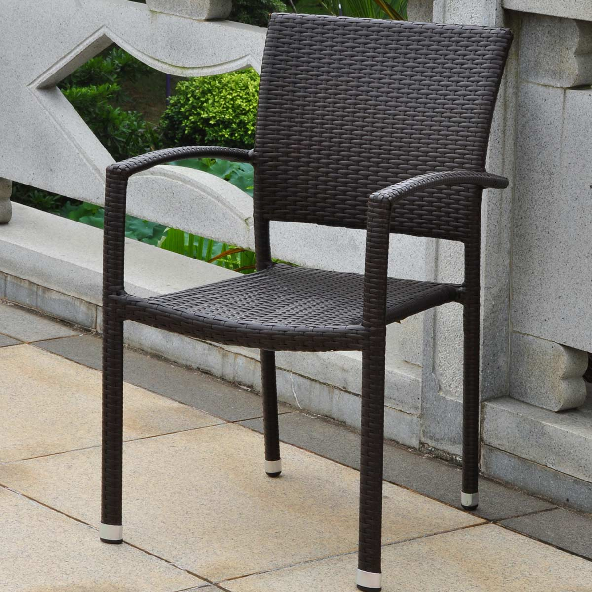 outdoor dining chairs stackable timber ridge international caravan barcelona resin wicker square back