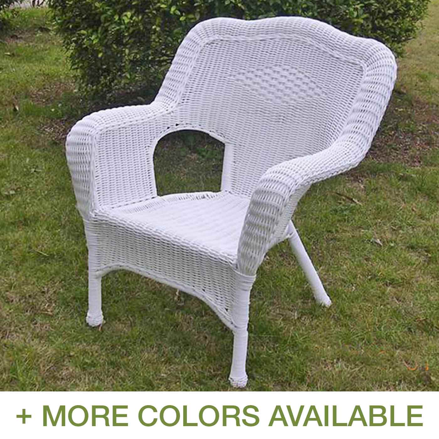 wicker patio chair set of 2 booster seat international caravan camelback resin chairs