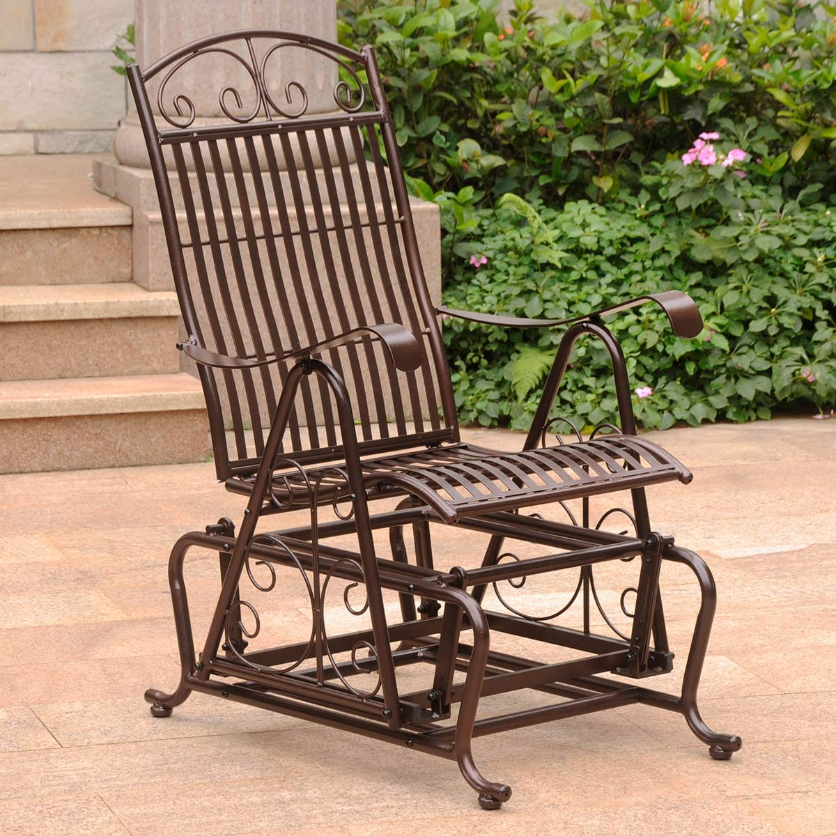 Glider Patio Chairs International Caravan Mandalay Iron Glider Free Shipping