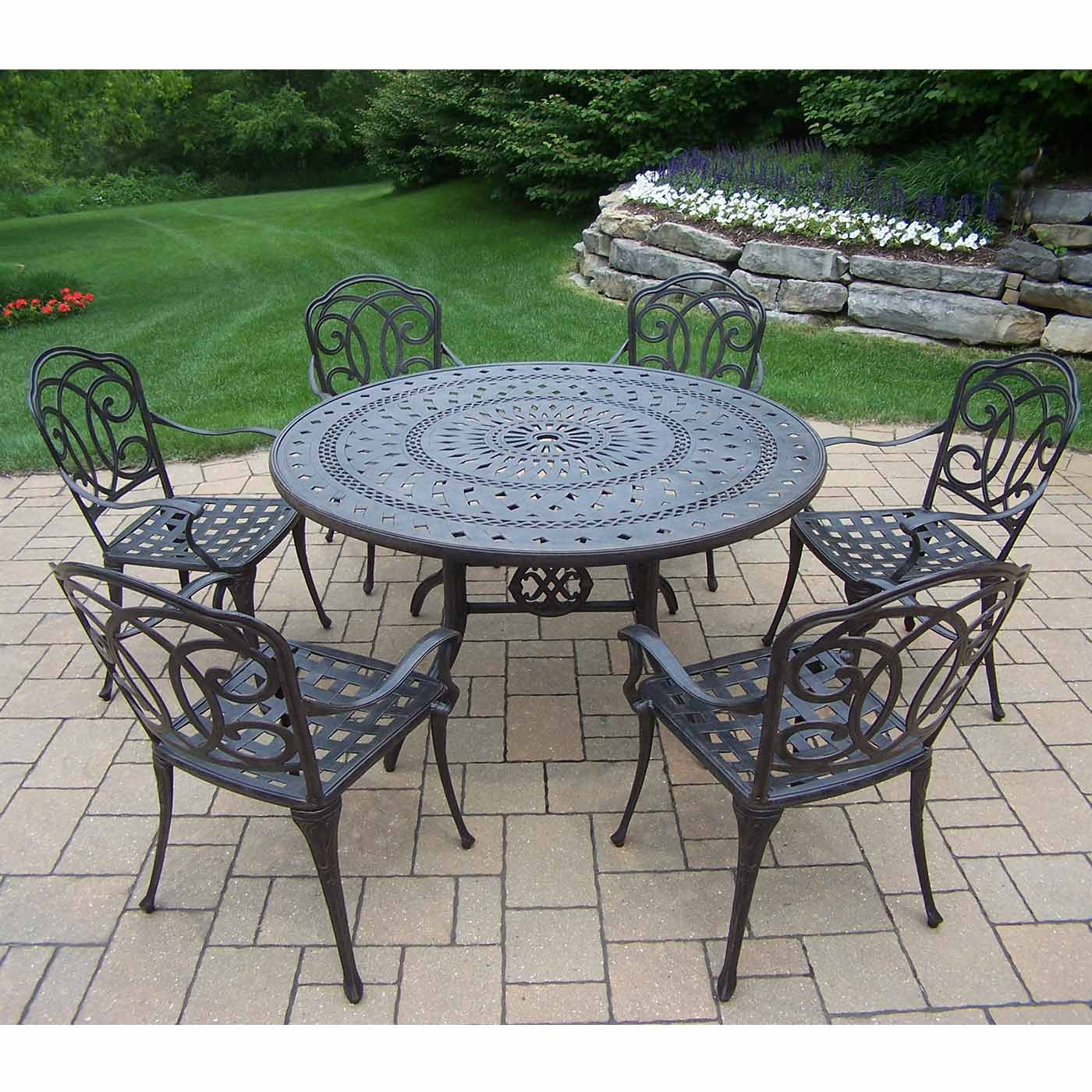 round patio chair viva office oakland living berkley 7 piece aged set with 54