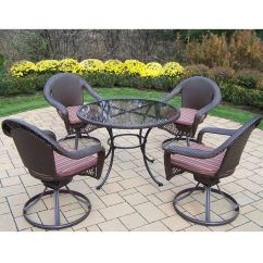 Wicker Swivel Outdoor Dining Chair Cracker Barrell Rocking Oakland Living Elite Resin 5 Pc Set With 42