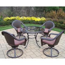 Wicker Glass Top Dining Table Set
