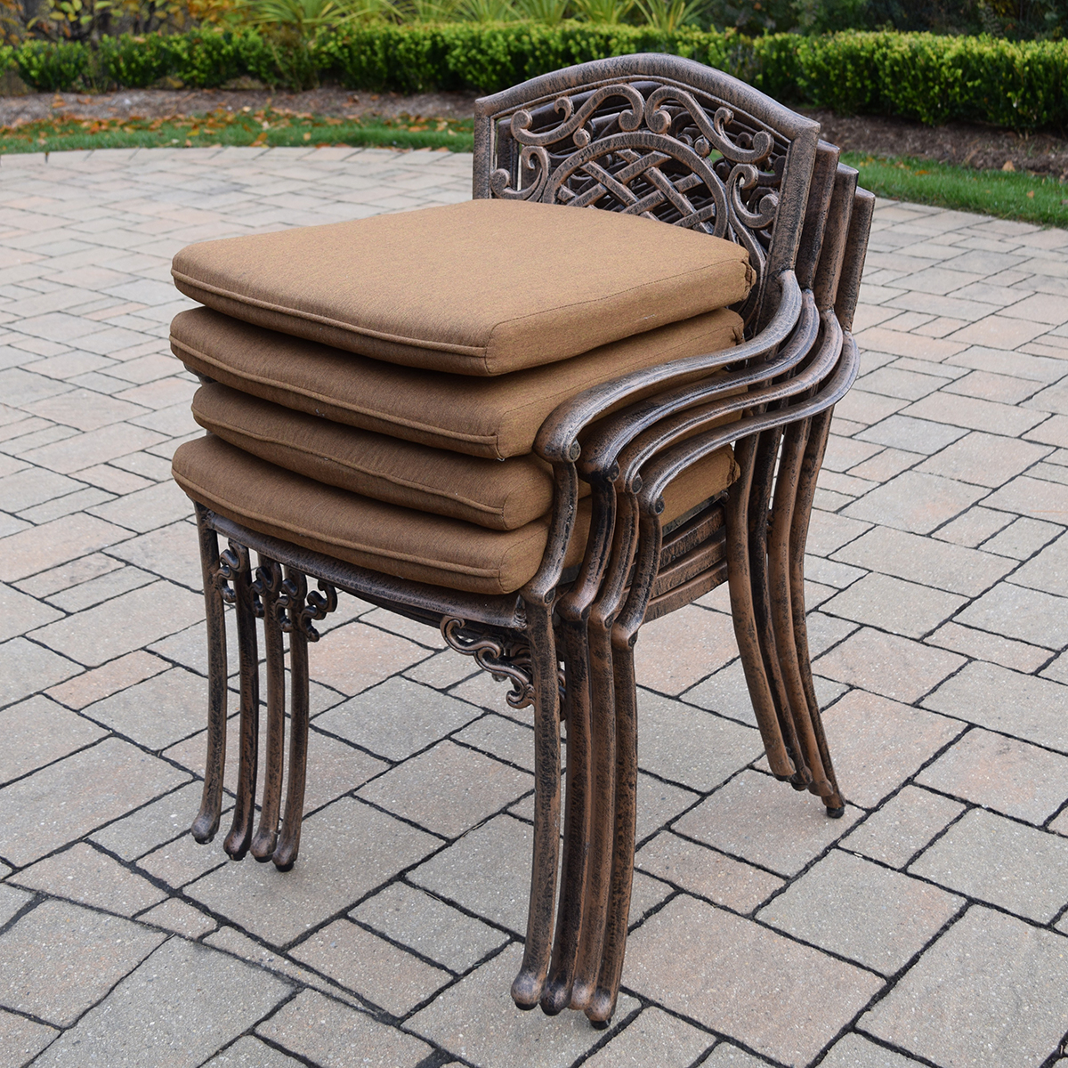outdoor dining chairs stackable office chair seat covers amazon oakland living mississippi 5 pc patio cast aluminum
