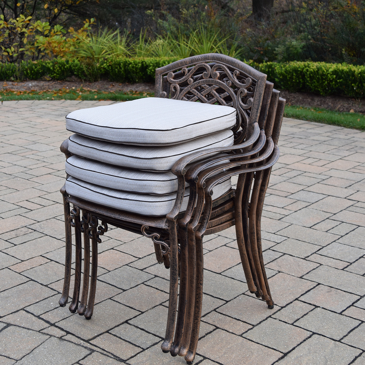 stackable metal patio chairs wedding chair covers pembrokeshire oakland living mississippi 5 piece cast aluminum