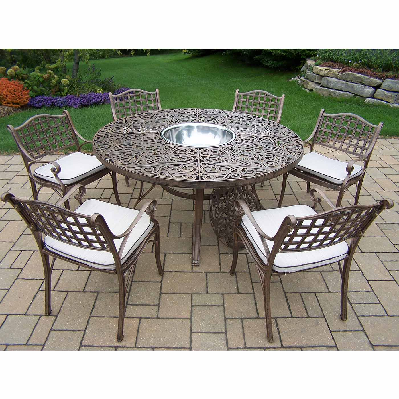 stainless steel outdoor table and chairs hanging chair crescent stand oakland living mississippi 8pc round patio dining set with
