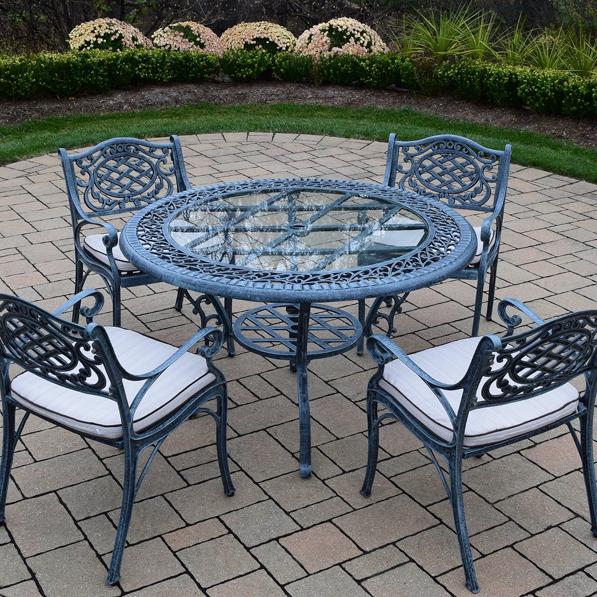 round patio chair walking stick seat stool oakland living mississippi cast aluminum 5 piece