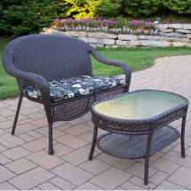 Oakland Living Resin Wicker 2 Pc. Loveseat And Coffee