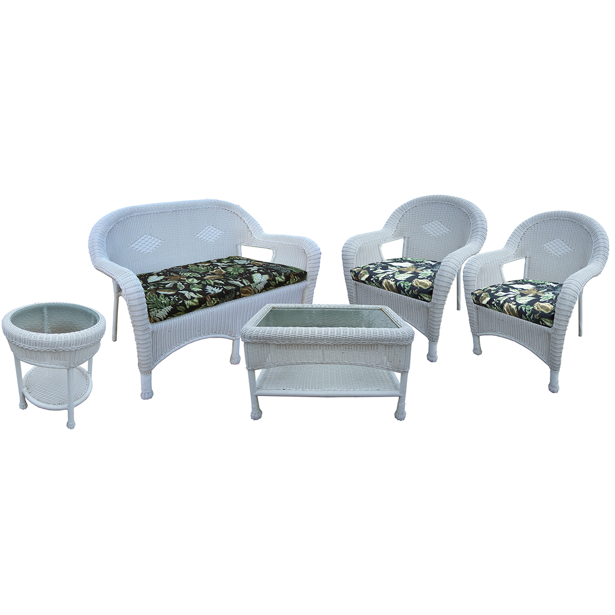 white resin wicker chairs best for nursery uk oakland living 5 pc seating set with