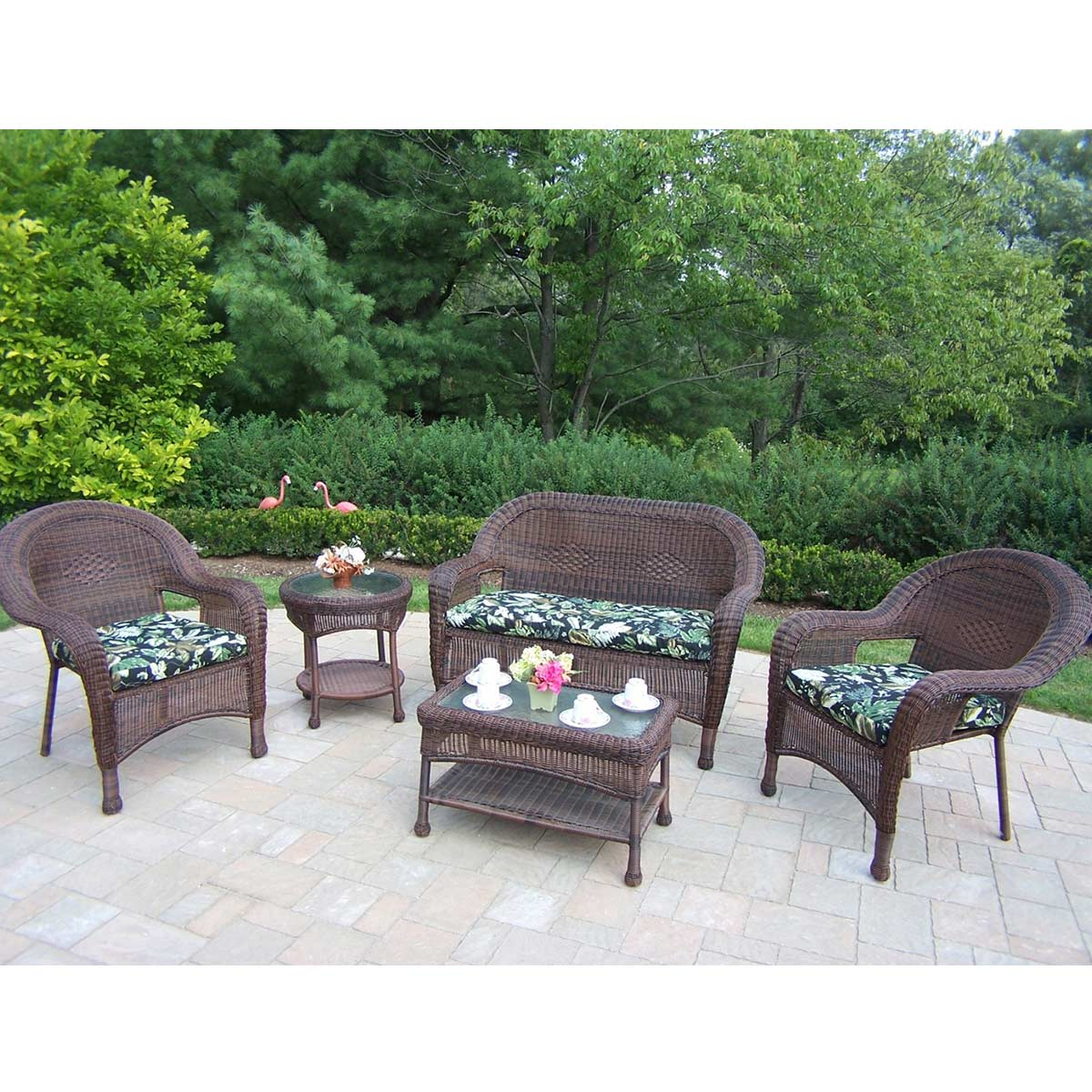 resin table and chairs set pilates on chair exercises oakland living wicker 5 piece outdoor seating