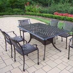 Outdoor Aluminium Table And Chairs Natural Rocking Chair Oakland Living Rose 7 Pc Cast Metal Dining Set