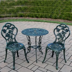 Green Metal Bistro Chairs Mini Lounge Oakland Living Rose Cast 3 Piece Set With 23