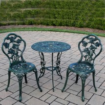 Oakland Living Rose Cast Metal 3 Piece Bistro Set With 23