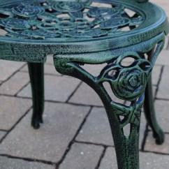 Green Metal Bistro Chairs Wedding Ribbon Oakland Living Rose Cast 3 Piece Set With 23