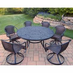 Table With Swivel Chairs Small Wooden Oakland Living Tuscany 7 Piece Patio Set 60 Quot Round