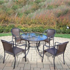 Resin Table And Chairs Set Glider Chair With Ottoman Oakland Living Tuscany Wicker 5 Pc Dining