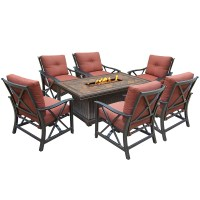 Oakland Living Vienna Gas Firepit Table Deep Seating 7 Pc ...