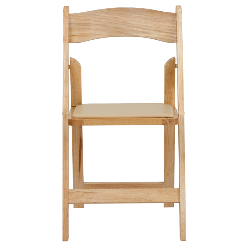 HERCULES Series Natural Wood Folding Chair with Vinyl