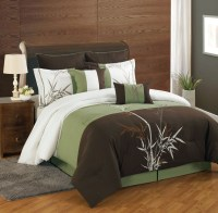 12 Piece Queen Bamboo Embroidered Bed in a Bag w/500TC ...