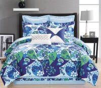 12 Piece Paisley Blue/Green/White Bed in a Bag Set