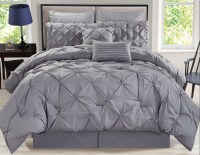 12 Piece Rochelle Pinched Pleat Gray Bed in a Bag Set