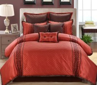 13 Piece Grenoble Red/Chocolate Bed in a Bag Set