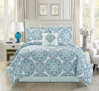 5 Piece Medallion Floral Blue/Teal/White Comforter Set