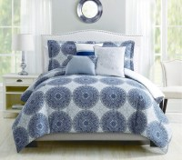 6 Piece Heidi Denim Blue Reversible Comforter Set