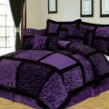 Piece cal king safari purple and black patchwork micro suede