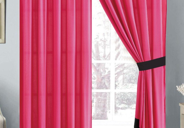 Pink And Black Sheer Curtains