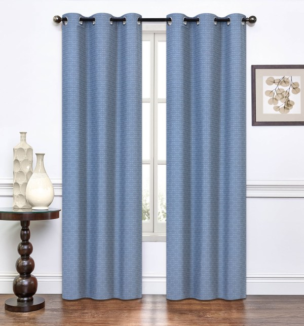 Pair Of Lynette Slate Blue Window Curtain Panels Withgrommets
